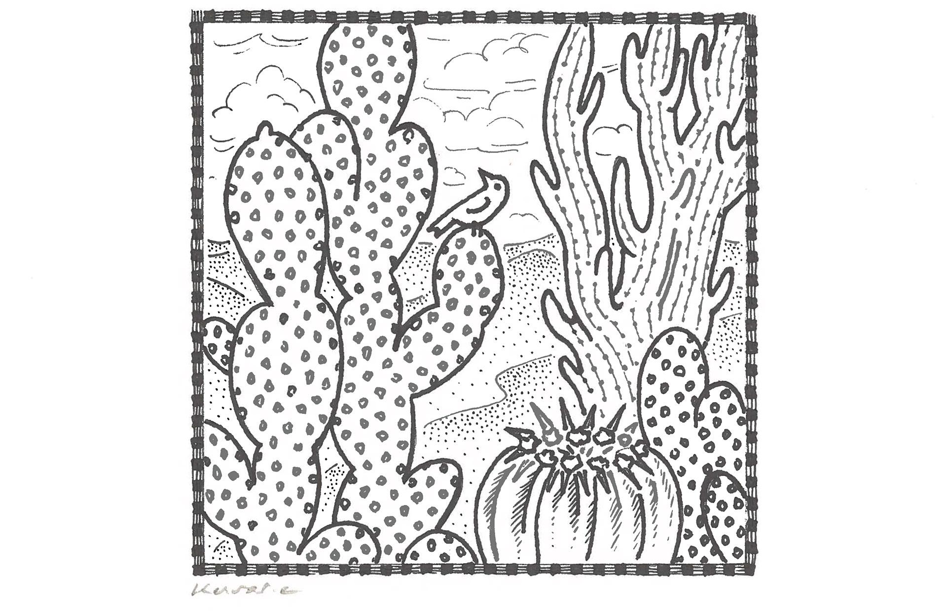 Cactus, Anne Kervarec artiste peintre Nantes