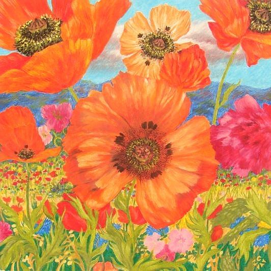Pavots, Anne Kervarec, craies grasses huile sur papier