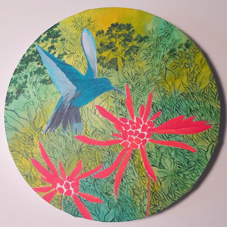 Colibri butinant, deuxième étape tableau rond, Anne Kervarec artiste peintre
