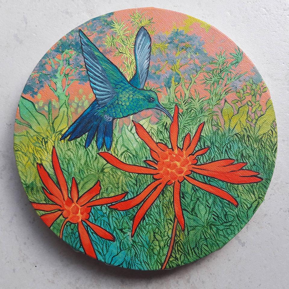 Colibri butinant, troisième étape tableau rond, Anne Kervarec artiste peintre