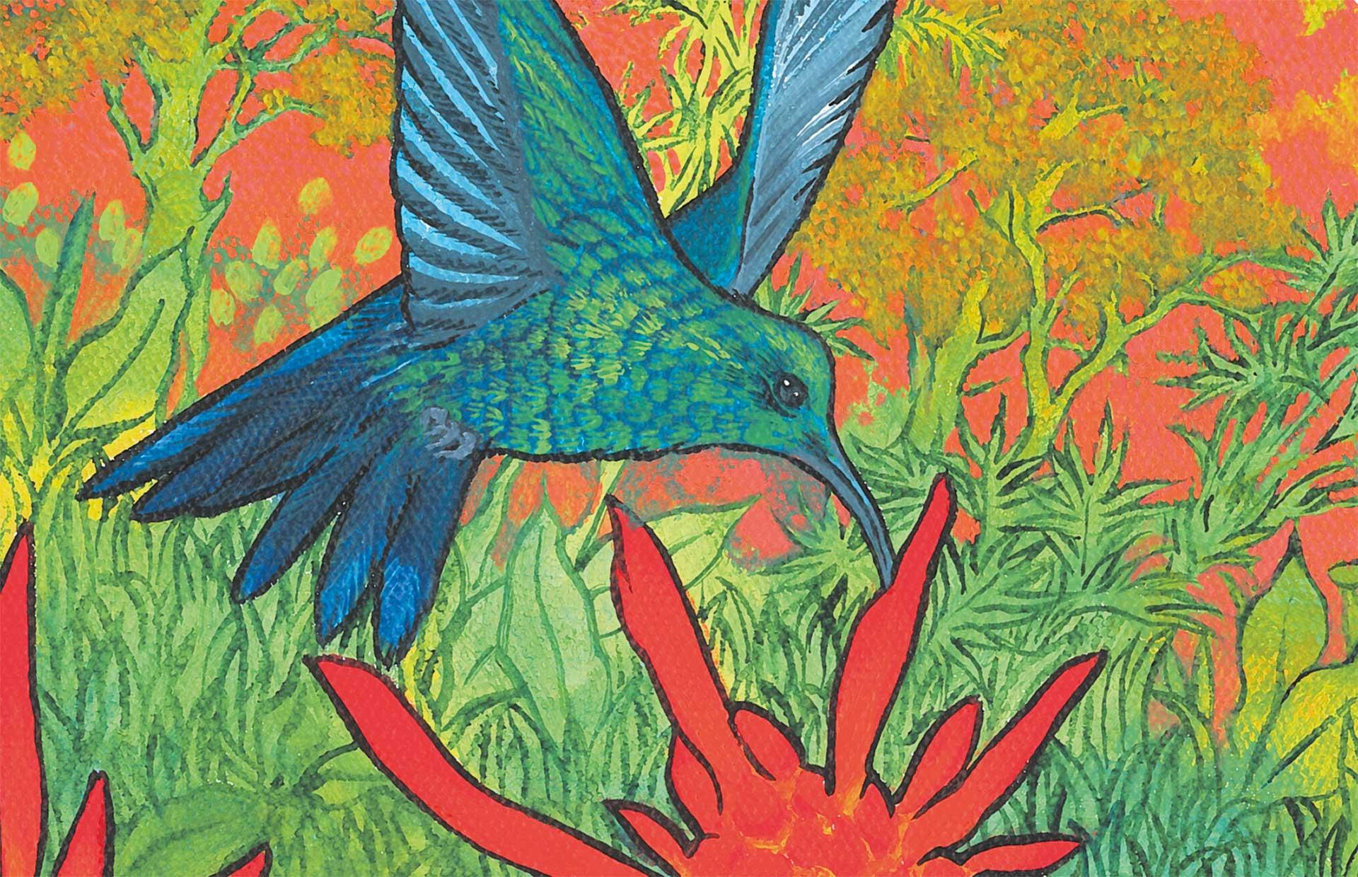 Colibri butinant, focus, Anne Kervarec artiste peintre