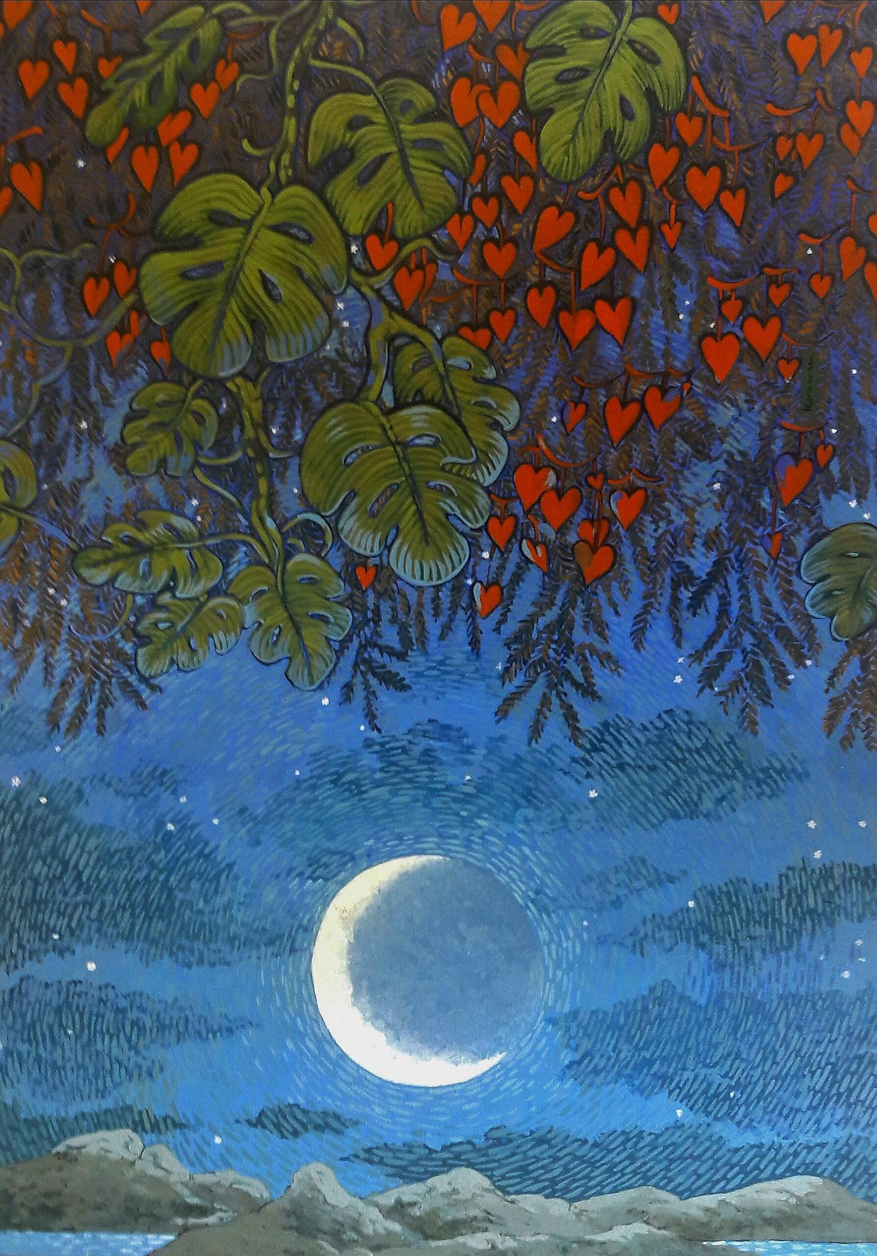 Aux cœurs de la nuit, nocturne acrylique sur toile