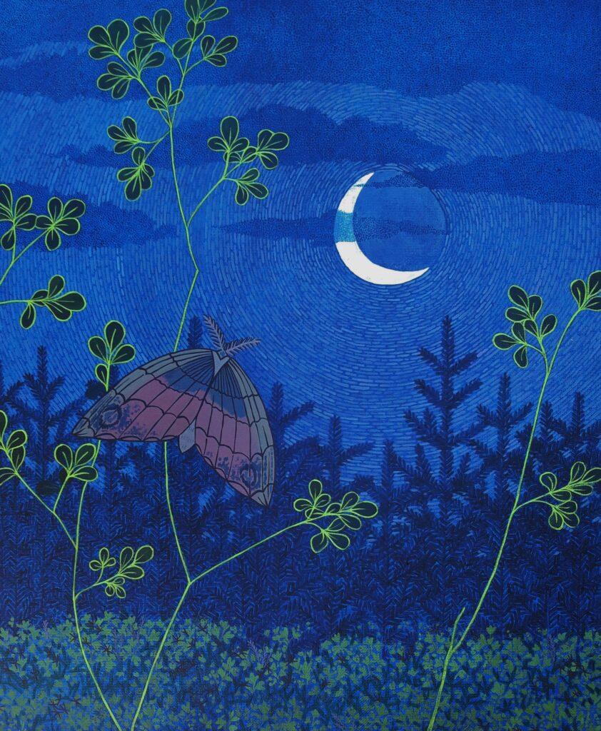 Papillon de nuit rose, Anne Kervarec, artiste peintre
