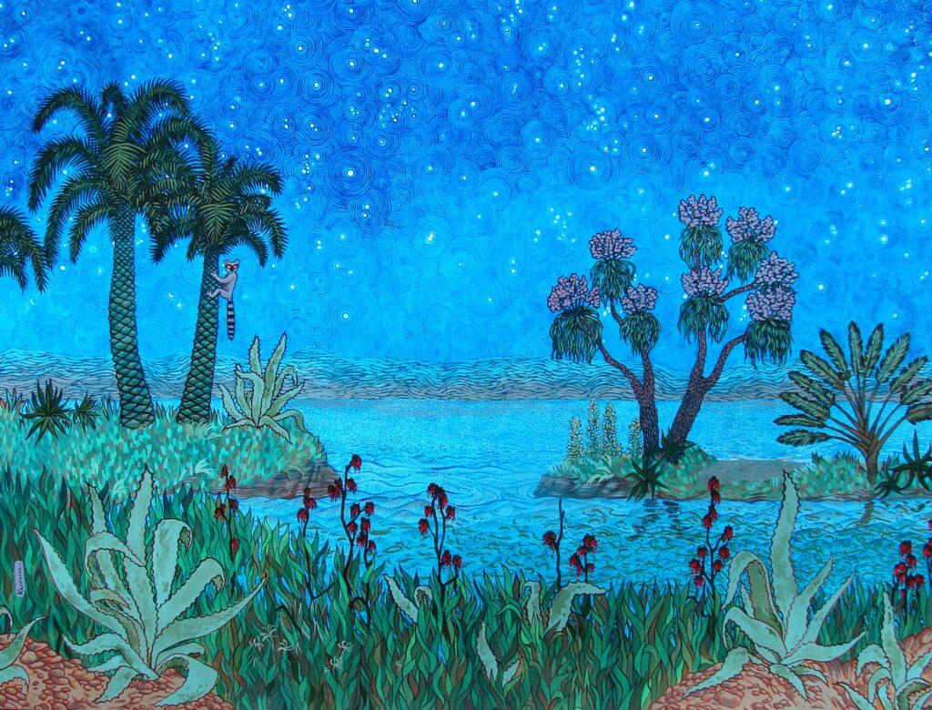 la nuit du maki, maki dans grimpant un palmier