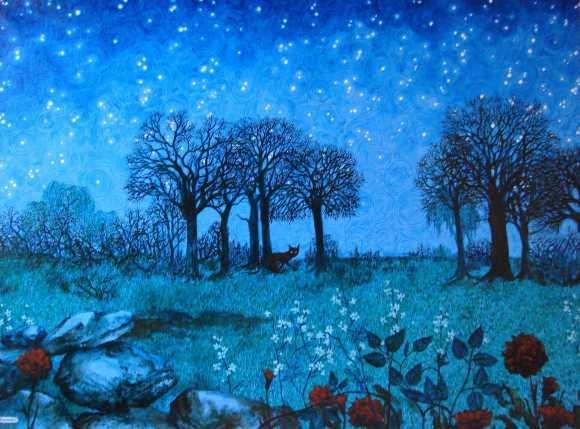 Nuit étoilée, Anne Kervarec, artiste peintre